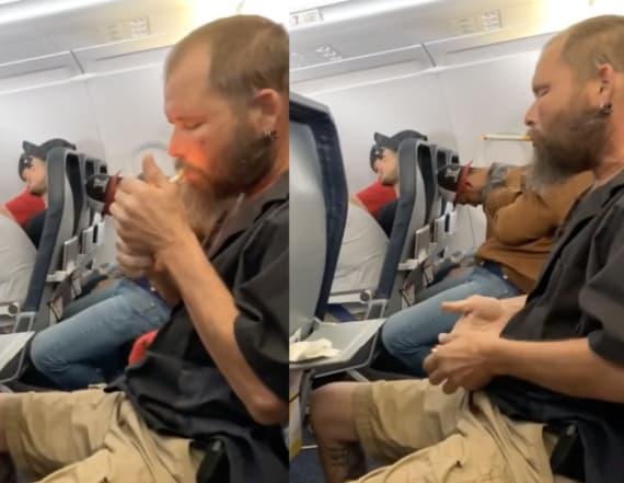 Man lights cigarette mid-flight in viral footage