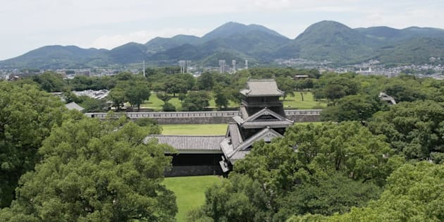 Castillo en Fukuoka, Japón.