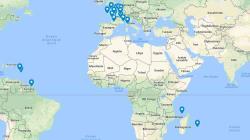 La carte des 18 sites prioritaires qui vont bénéficier du loto du patrimoine de Stéphane