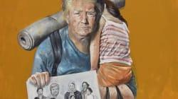 El artista sirio que retrata a los líderes mundiales como refugiados