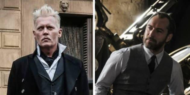 """Grimelwald (Johnny Depp) et Albus Dumbledore (Jude Law), dans le film """"Les Animaux Fantastiques, les Crimes de Grimelwald""""."""