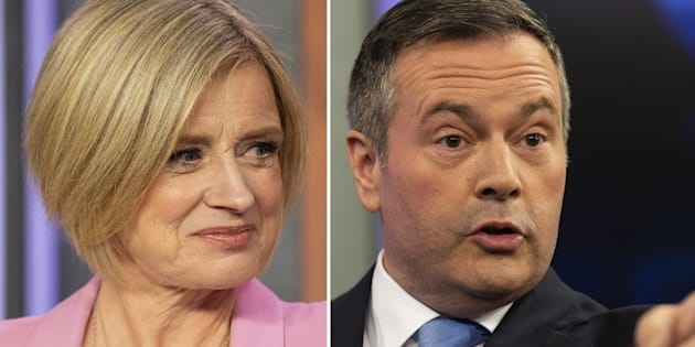 A composite photo from the 2019 Alberta Leaders Debate in Edmonton, which took place on April 4, 2019. On the left, Alberta New Democrat Party Leader and incumbent premier Rachel Notley; on the right, Alberta United Conservative Party Leader Jason Kenney.