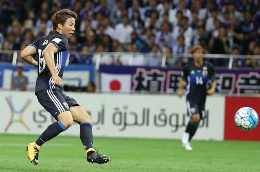 アジア最終予選・日本-オーストラリア。前半、先制ゴールを決める日本代表の浅野拓磨(シュツットガルト)=31日、埼玉スタジアム 撮影日:2017年08月31日