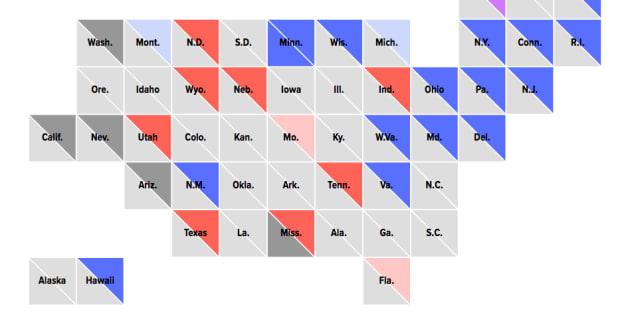 Carte des résultats réalisée par Le HuffPost américain