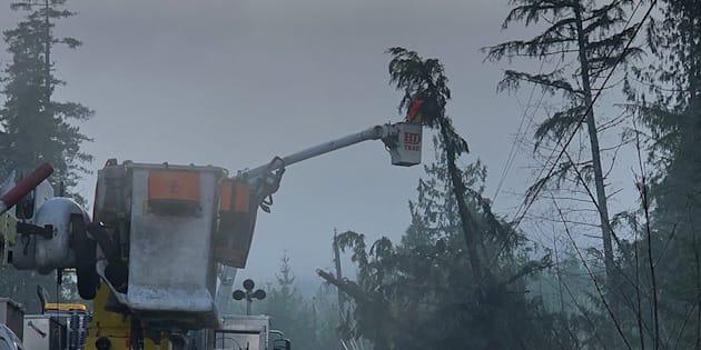 Crews work on cleaning up after a windstorm in December 2018. (Credit: BC Hydro/Twitter)