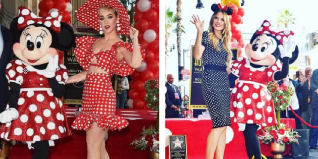 """Minnie Mouse a enfin obtenu son étoile sur le célèbre """"Walk of Fame"""" ce 21 janvier et était visiblement en bonne compagnie sur le """"red Minnie Mouse carpet""""."""