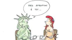 Le dessin de la Statue de la Liberté et de Marianne que les femmes se