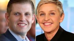 Eric Trump tuitea una extraña teoría de la conspiración sobre Ellen