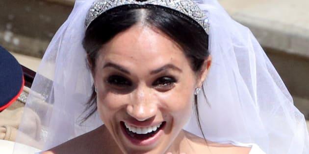 Meghan Markle leaves St George's Chapel in Windsor Castle after her wedding.  Saturday May 19, 2018.  Andrew Matthews/Pool via REUTERS