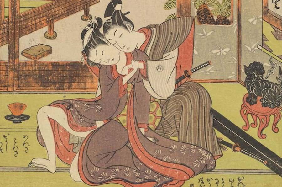 "Isoda Koryūsai (1735-1790), ""Samurai Wakashu and Maid,"" 18th century. Color woodblock print."