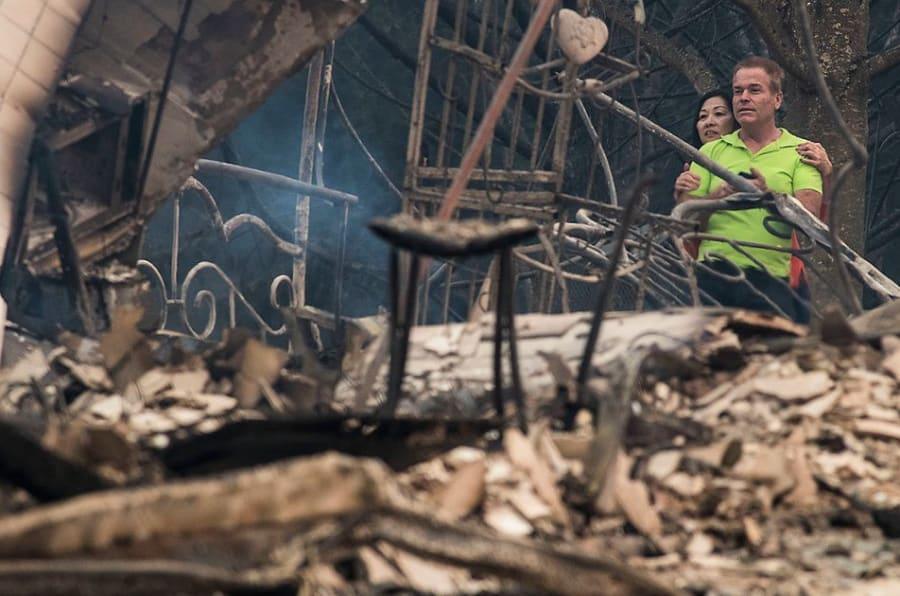 Foto área da destruição dos incêndios.