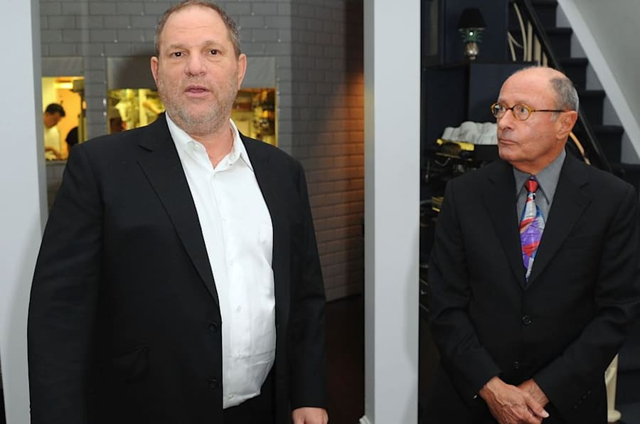 Harvey Weinstein and Peter Bart attend the launch party for Bart's book Infamous Players in New York City on April 25, 2011.