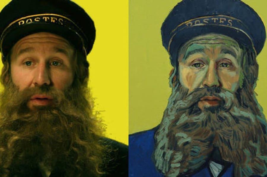 """Chris O'Dowd como o Carteiro Roulin em """"Loving Vincent"""". No filme, o carteiro manda seu filho, Armand Roulin, numa missão de entregar uma carta e descobrir o que realmente aconteceu com van Gogh."""