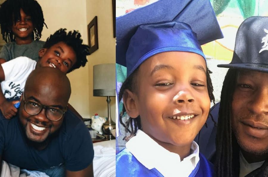 Glen Henry (L) with his two sons Theo and Uriah, and Shaka Senghor (R) with his son Sekou.