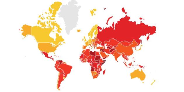 Los países que tienden al color rojo, son los que tienen un mayor índice de percepción de corrupción.