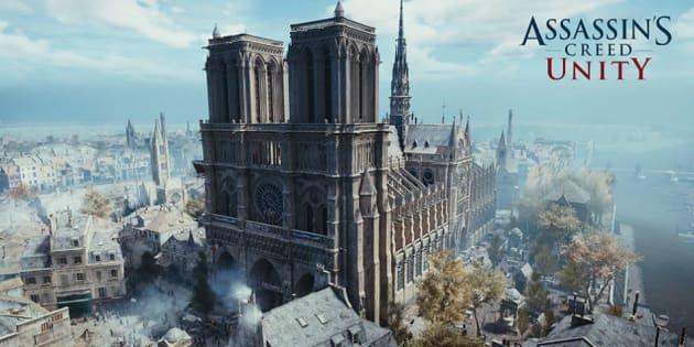 Notre-Dame de Paris telle que recréée dans le jeu vidéo Assassin's Creed Unity