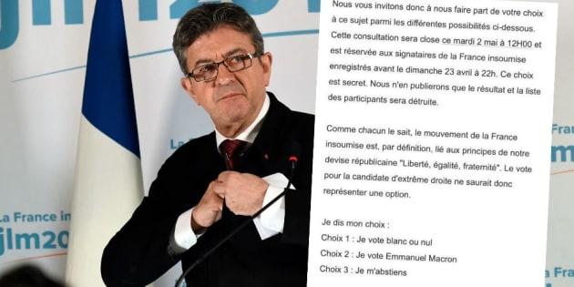La consultation des militants de La France insoumise en vue du second tour ne propose pas l'option d'un vote FN