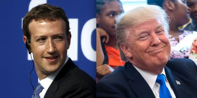 Mark Zuckerberg, CEO de facebook, y Donald Trump, presidente de EEUU, en sendas imágenes de archivo.