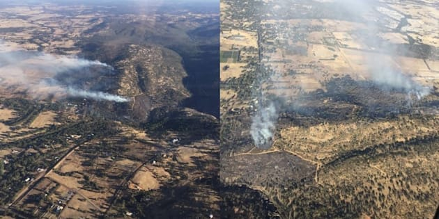DFES Aerial images looking at the Upper Swan fire to the north and west directions