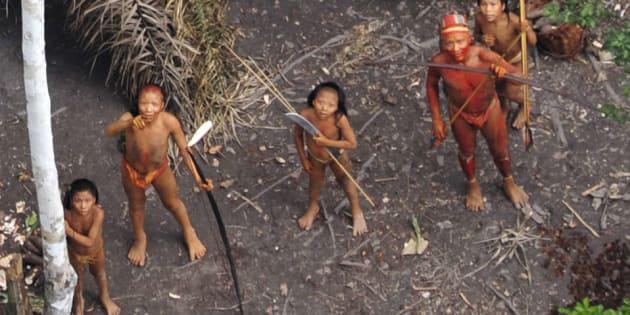 Índios isolados da Amazônia brasileira, imagem aérea em 2010.