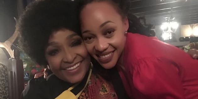 Winnie Madikizela-Mandela with Thando Thabethe.