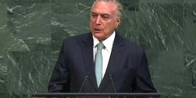"""Temer iniciou seu discurso citando os principais desafios da ONU hoje, o que ele chamou de """"momento de traços de incertezas e instabilidades""""."""