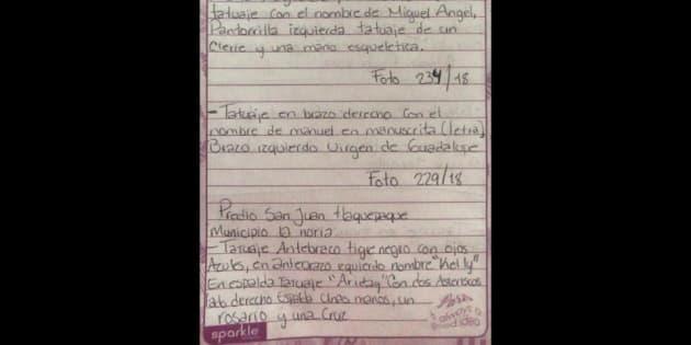 Gracias a esta hoja escrita a mano se logró la ubicación de un joven desaparecido en Jalisco