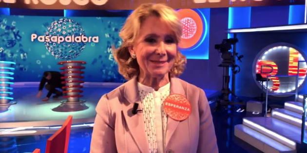 Esperanza Aguirre en 'Pasapalabra' (Telecinco)