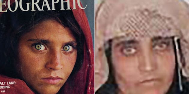 The iconic National Geographic cover on the left with a photo from a Pakistan court of Sharbat Gula in Peshawar, Pakistan.