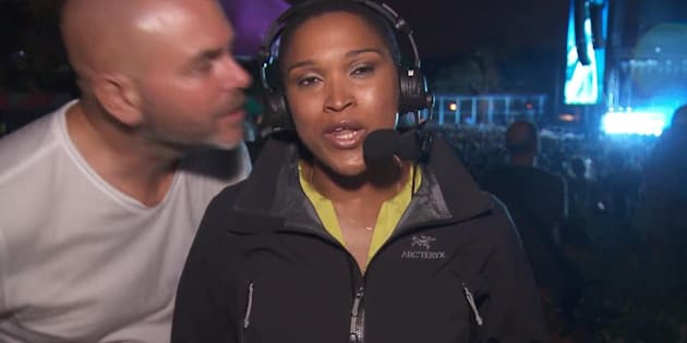 Radio-Canada journalistValerie-Micaela Bain received an unwanted kiss while covering the Osheaga music festival.