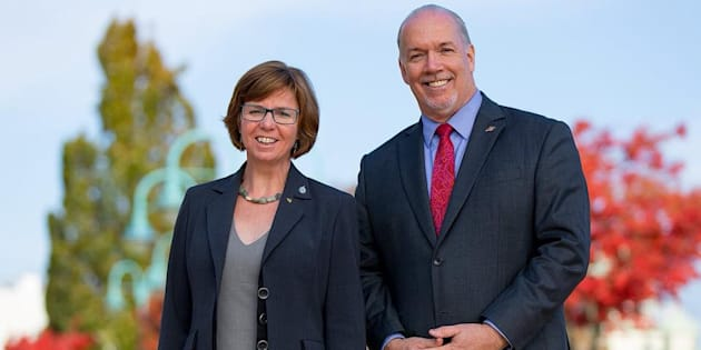 MP Sheila Malcomson is shown with B.C. Premier John Horgan in a photo posted to Malcomson's Facebook.
