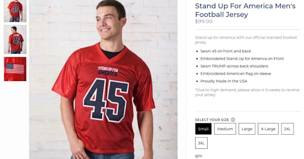 af72af50846 Trump's campaign store is selling $99 football jerseys that say 'Stand Up  for America' - AOL News