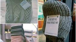 À Cergy, les habitants accrochent des vêtements chauds dans la rue pour ceux dans le