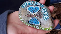 Families Are Penning Positive Messages On Rocks And Hiding Them All Over The