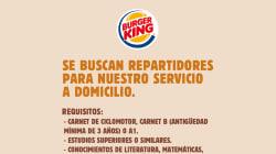 Burger King Spagna cerca gente per il suo servizio di consegne a domicilio (e che sappia giocare ai