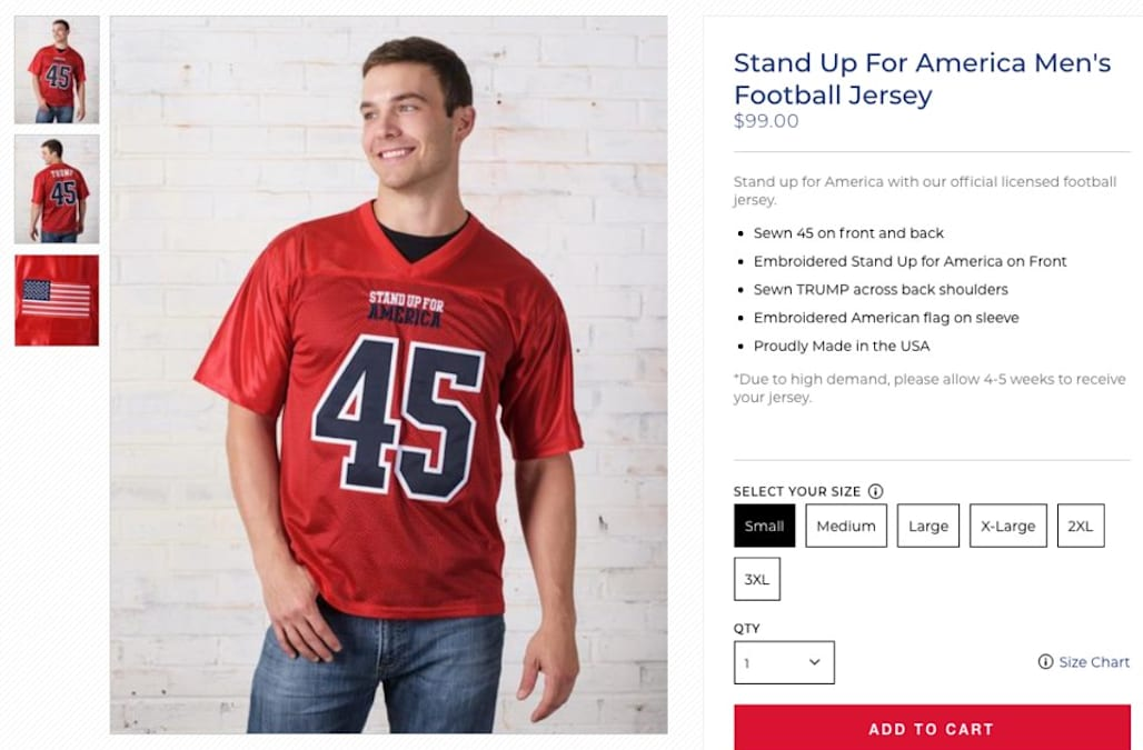 4df3d03fddf Trump's campaign store is selling $99 football jerseys that say 'Stand Up  for America'