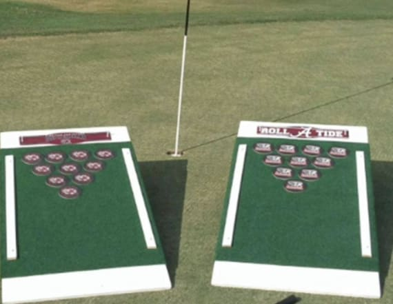 This great tailgate game combines beer pong and golf