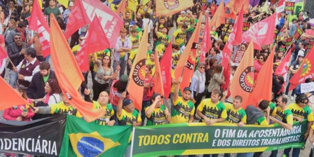 Centrais sindicais protestaram em todo o país contra as reformas trabalhista e previdenciária no dia 30 de junho.
