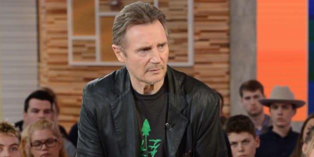 Liam Neeson, sur le plateau de Good Morning America (ABC), mardi 5 février. L'acteur réagissait à ses propos polémiques, publiés la veille dans une interview au journal anglais The Independent.