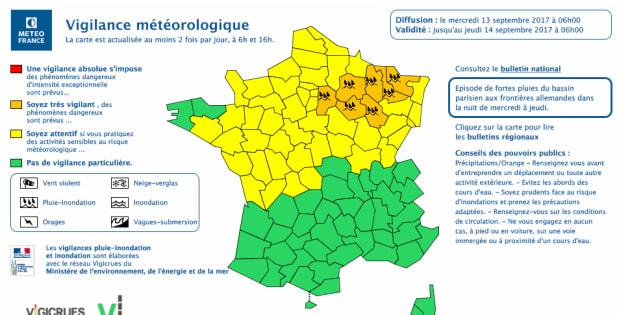 7 départements du Nord-Est placés en vigilance orange pluie-inondation
