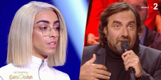 """Bilal Hassani et André Manoukian, sur le plateau de """"Destination Eurovision"""", samedi 12 janvier."""
