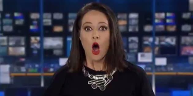 Freelance newsreader Natasha Exelby missed her cue on live TV.