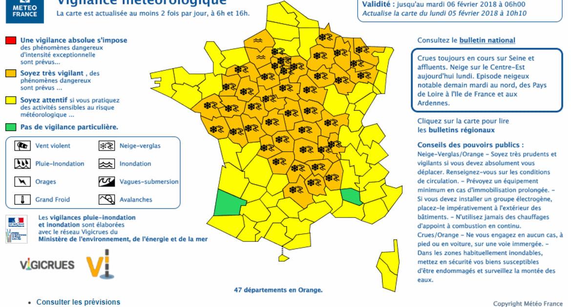 Neige et verglas: 47 départements en vigilance orange