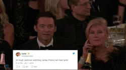 People Can't Get Over Hugh Jackman's Shocked Face After His Golden Globes