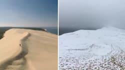 La neige a transformé la Dune du Pilat en