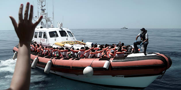 Migrants are seen after being rescued by MV Aquarius, a search and rescue ship run in partnership between SOS Mediterranee and Medecins Sans Frontieres in the central Mediterranean Sea, June 12, 2018. Karpov / SOS Mediterranee/Handout via REUTERS ATTENTION EDITORS - THIS IMAGE WAS PROVIDED BY A THIRD PARTY.
