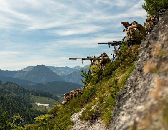 NATO snipers practice shooting in the Austrian Alps