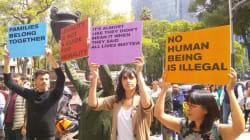 EN FOTOS: Protestan en la Embajada de Estados Unidos contra políticas migratorias de