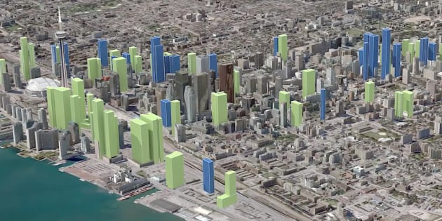 A screencap of Point2 Homes' rendering of the evolution of Toronto's skyline. The city could have as many as 81 new skyscrapers added to its skyline in the coming years.