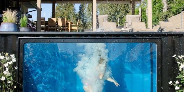Quelqu'un saute dans les modpools, ces piscines faites à partir d'un conteneur.